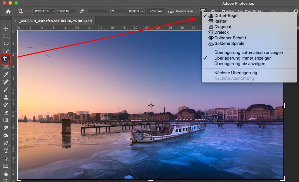 Photoshop Funktion beim Beschneiden-Werkzeug, wie man sich Kompositionsvorlagen anzeigen lassen kann