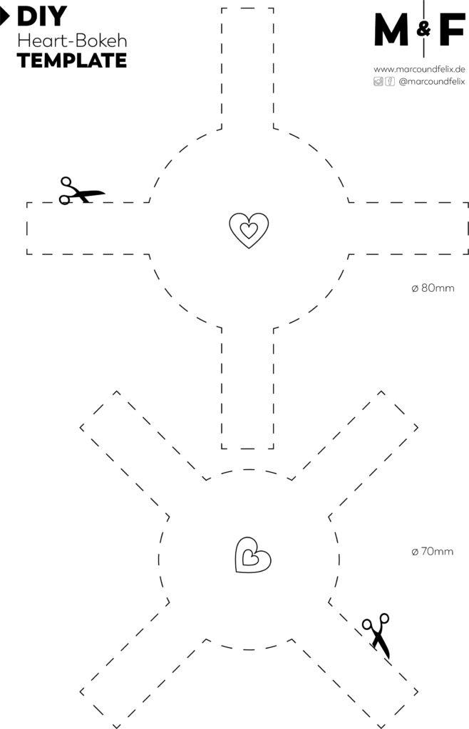 Mit dieser DIY Vorlage kannst Du einfach und schnell tolle Herz Bokeh Bilder selber erstellen