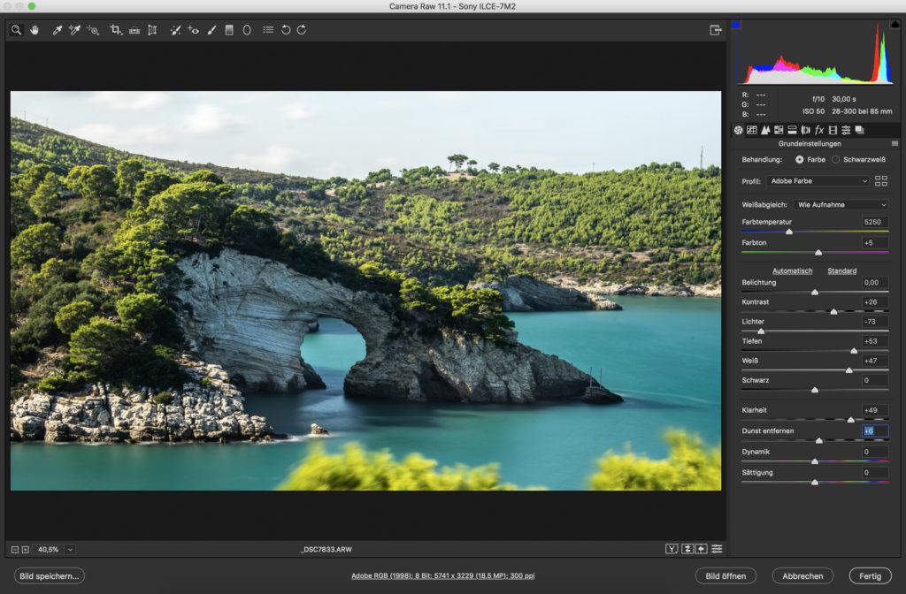 Screenshot von CameraRAW. Alle Einstellungen sind wie in Lightroom. Die Einteilung ist unterschiedlich, die Funktionen sind die gleichen.