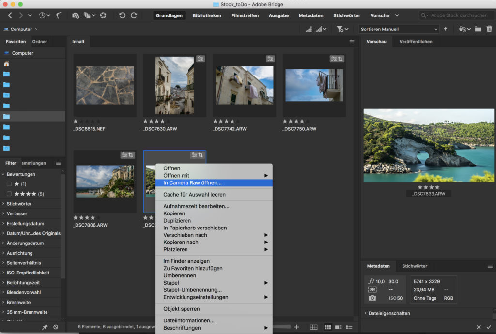 Screenshot von der Adobe Bridge. Durch das Modul CameraRAW ist eine Bildbearbeitung wie in Lightroom kostenlos in der Bridge möglich.
